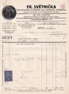 Účet technické potřeby Světnička, Praha II.