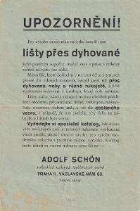 Leták truhl. Potřeby A. Schön, Praha II.
