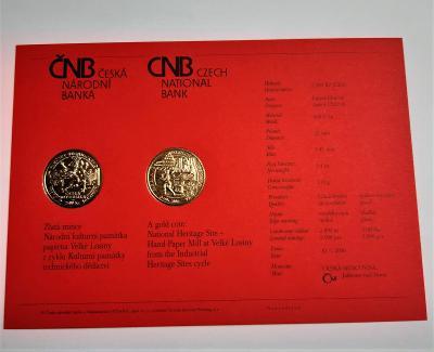Certifikát ke zlaté minci Národní kulturní památka papírna VelkéLosiny