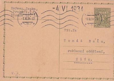 Korespondenční lístek Reklamní oddělení Baťa 1934