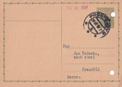 Korespondenční lístek Obchod obuví Večerka 1934