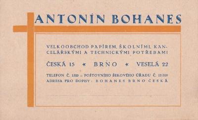 Vizitka papír, kanc. potřeby Bohanes, Brno