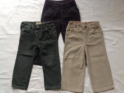 Manžestrově kalhoty na chlapečka, 3ks, vel. 2-3r