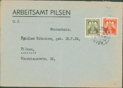 12B975 Služební dopis Pracovní úřad Plzeň, služební známky