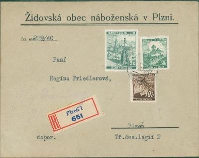 12B988 Dopis Židovská obec náboženská v Plzni - mimořádné RR!