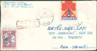 18B113 Dopis Vietnam - Tachov, dekorativní