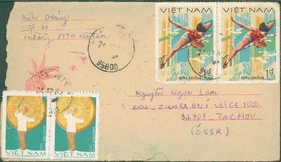 18B114 Dopis Vietnam - Tachov, dekorativní, poškozeno