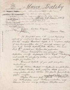 Dopis kuřácké potřeby Marco Pisetzky, Řím