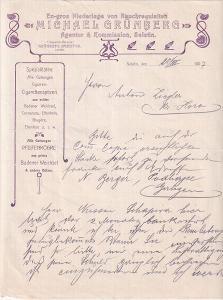 Dopis kuřácké potřeby M. Grünberg, Seletin