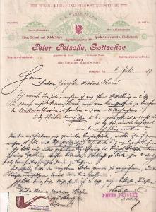 Dopis kuřácké potřeby Petsche, Gottschee