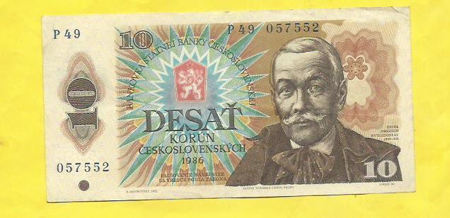 10 Kčs 1986 P49 - Bankovky