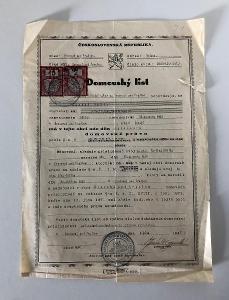 ČSR Starý Dokument (1947) - Čti Popis Aukce