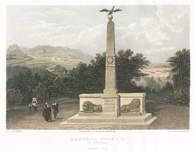 Kynžvart památník, Weidmann, kolor. oceloryt, 1840