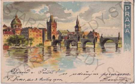 Praha 1, panorama, Malá Strana, Karlův most, Vltav