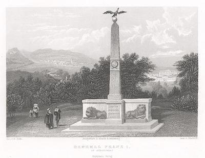 Kynžvart Památník Františka I., , oceloryt, 1840