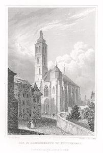 Kutná Hora sv. Jakub, Lange, oceloryt, 1842