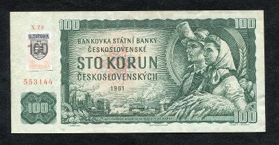 ● 100 KORUN KČS 1961 ● slovenský kolek ● série X 73 ●