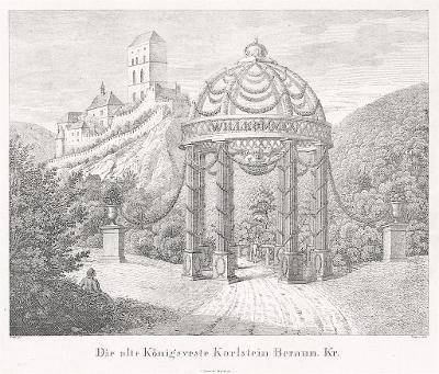 Karlštejn, Glasser, litografie, 1836