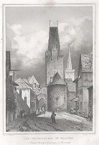 Kadaň Svatá brána, Lange, oceloryt, 1842