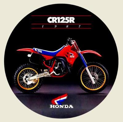 Motocross HONDA CR125R rok 1987, bílá samolepka pr.7-(1x).
