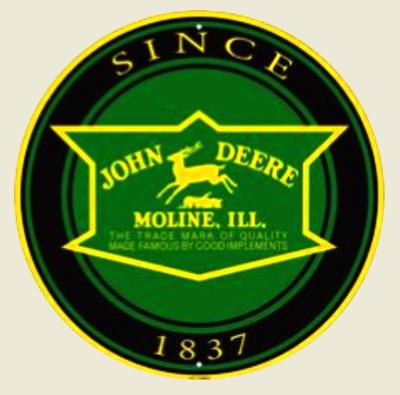 JOHN DEERE, bílá samolepka pr.7-(1x).
