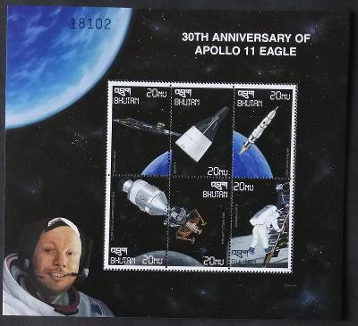 Bhútán 1999 Mi.1970-5 8€ 30 let přistání na Měsíci, vesmír