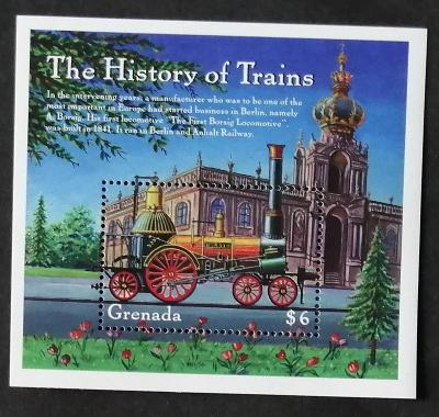 Grenada 2000 Bl.575 7€ Borsigova parní lokomotiva, vlaky