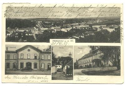 Fryšava u Znojma vlak.nádraží kostel zámek rok 1937