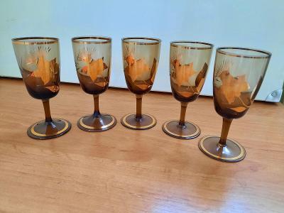Skleničky na desertní víno, 5 ks, hnědé sklo, zlacené