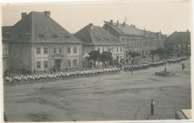 Dobřany, okr. Plzeň jih, náměstí, pochod Sokol?, živý záběr