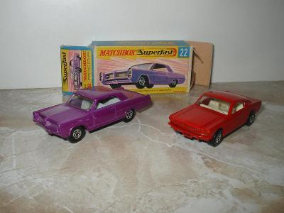 Matchbox  22 Pontiac Coupe + orig.krabička + 8 Ford Mustang . Raritní