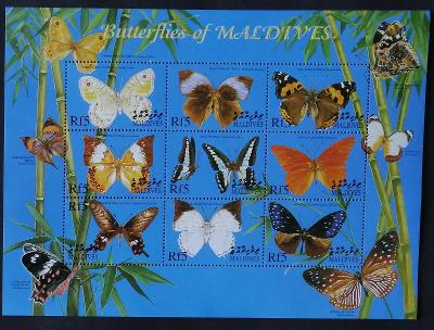Maledivy 2000 Mi.3409-7 10€ Ostrovní motýli a hmyz