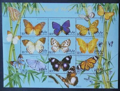 Maledivy 2000 Mi.3400-8 10€ Ostrovní motýli a hmyz