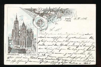 Praha K4268 lito koláž prošlo r.1895 ! vorläufer ! RARE