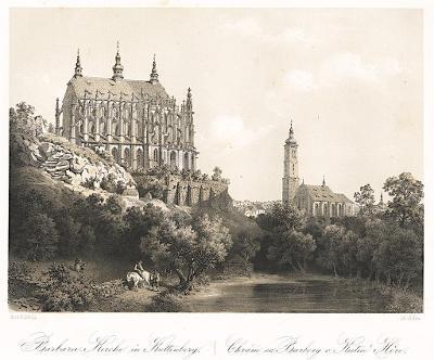 Kutná Hora, Haun, litografie, 1860