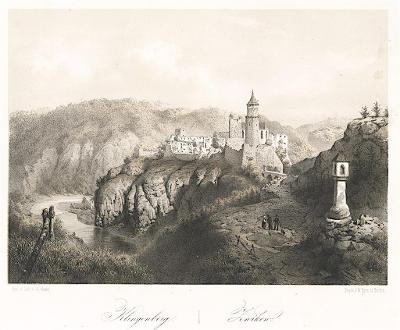 Zvíkov, Haun, litografie, 1860