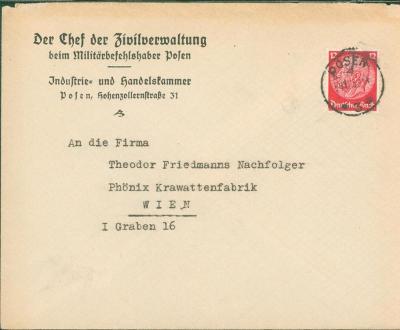 14B1037 Velitel civilní správy Polska - Vídeň, unikátní dopis RRR!