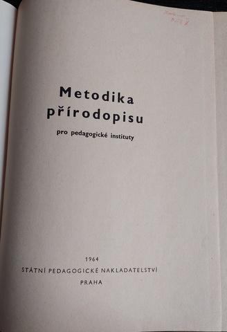 Metodika přírodopisu, vyd. 1964, učebnice