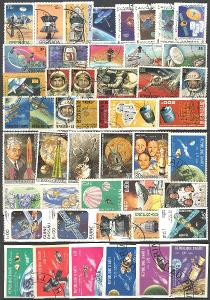 KOSMOS - VESMÍR - sestava 300 ks raž. známek, 6 x Aršík, 1 x dopis