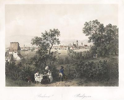 České Budějovice, Haun, kolor. litografie, 1860