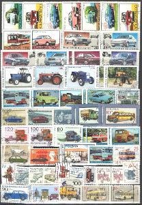 AUTOMOBILY - DOPRAVA - sestava 115-ti ks ražených známek + Aršík