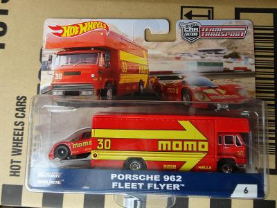 Hot Wheels Team Transport 6 Porsche 962 /Fleet Flyer.Rozbaleno.