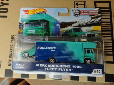 Hot Wheels Team Transport 10 Mercedes-Benz 190E/Fleet Flyer.Rozbaleno.