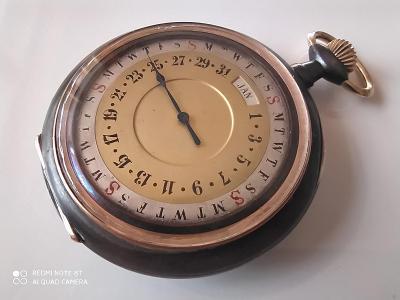 Starožitné oboustranné kapesní hodinky - datumáři