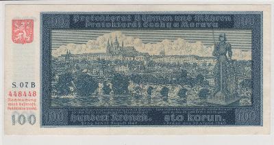 100 Korun 1940 - 1. vydání Série B,  č. 448448 - RRR -   NEPERF.