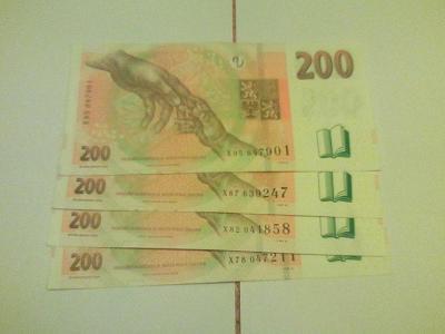 200 kč série X 95,87,82,78