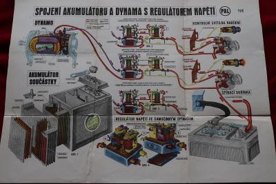 Schéma akumulátor  dynamo regulátor napětí