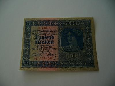 1000 Korun 1922, Tausend Kronen 1922, stav UNC