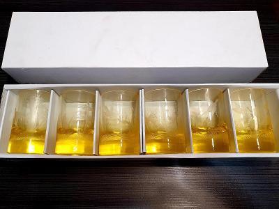 Moser sklo,,,6x krásné velké panáky ryté!!!