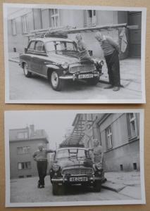 """ŠKODA OCTAVIA """"ŽEBŘÍK NA STŘEŠE"""" - 2x malé foto 9 x 6cm !!! HK-24-90"""
